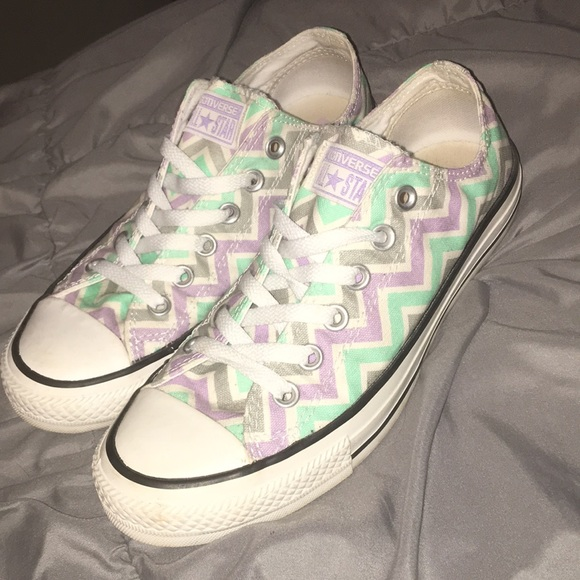 8a4643e7436 Converse Shoes - Cute! Converse with zig zag pastel pattern